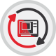 Red and black arrows signifying how TestLink can improve the life cycle of an ATM machine.